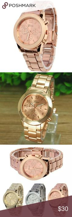 SPECTACULAR LADIES ROSEGOLD QUARTZ WATCH Geneva Ladies Stainless Steel Quartz Wrist Watch  Feature:  100% brand new and high quality.  Quantity: 1  Style: Fashion & Casual  Dial Material:Alloy  Strap Material:Stainless Steel  Case material:Alloy  Display: Analog  Movement: Quartz  Case Diameter: 3.6cm  Case Thinkness:0.7cm  Band Width: 1.8cm  Daily water resistance (not for showering and swimming)  Surface Material: Glass  Color:Gold,Rose Gold,Silver GENEVA Accessories Watches