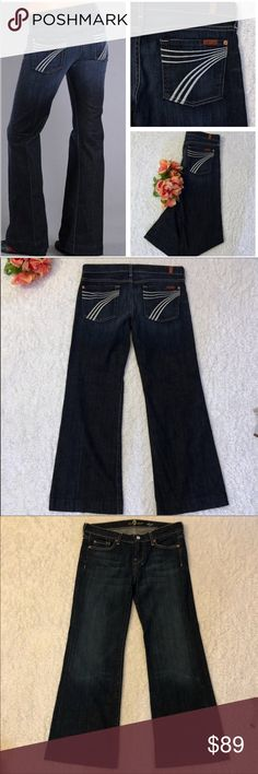 """7 For All ManKind """"Dojo"""" Jeans White 7s Size 29 This beautiful color wash pair of 7 for all Mankind 7FAM Dojo Wide Legs Jeans are in excellent condition. They were only worn twice by my daughter. White 7s On Both Back Pockets. Measurements are above in pictures. Inseam is 28"""". Please let me know if you have any questions. 7 For All Mankind Jeans Flare & Wide Leg"""