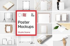 Poster Mockups - Studio Scene - Collection of 30 PSD Poster Mockups that will help you showcase your work in the best way possible. Create a neat presentation in a second. Just open the psd file and place your design thanks to the smart object layers. @creativework247