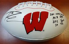 "Russell Wilson Autographed Wisconsin Badgers Football """"2011 NCAA Record 191.8 QBR, 3175 YDS & 39 TDS"""" Limited Edition #/16 RW Holo"