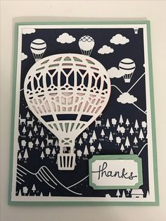 Stampin' Up Lift me up stamp set with matching Up and Away thinlits dies and Sale-a-bration paper Carried away...