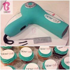 Blow dryer cake with matching logo cupcakes by B Cake NY Hair Stylist Cake, Cake Pictures, Cake Pics, Cupcake Cakes, Cupcakes, Cool Cake Designs, Grand Opening, Hair Dryer, Amazing Cakes