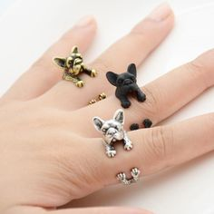 This ring is made in the shape of a french bulldog that wraps around your finger. They are one size fits all and are plated in silver, bronze and black. This is perfect for anyone looking for unique c