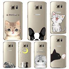 Telefonkasten für Samsung Galaxy S5 S6 S6Edge S6Edge + Soft TPU Silicon Transparente Dünne Abdeckung Nette Katze Hund Tiere Haut Shell