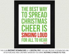 Buddy The Elf Quote Home Decor Print Art - Spread Christmas Cheer, Red, Green, Elf, Wall Art, Printable, Digital