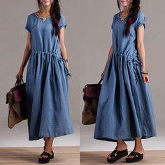 Ocio personalizado vestido de lino azul / color sólido pequeño bolsillo de manga larga vestido de la cintura elástico