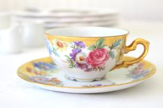 Antique Handpainted JKW Decor Calrsbad Western Germany Bavaria Teacup and Saucer - c. 1949 - 1950's