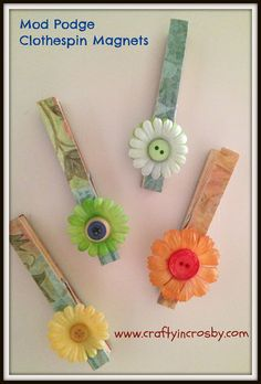 Mod Podge Clothespin Magnets