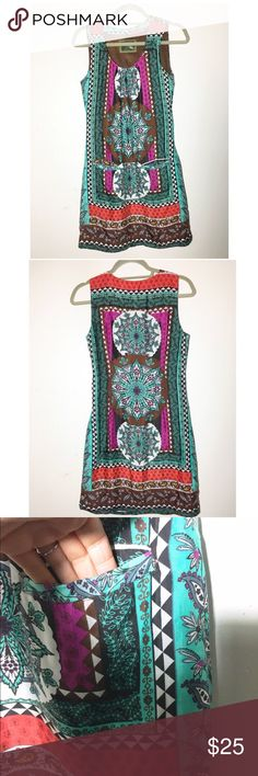 """Desigual medallion-print shift dress S Gorgeous bright colors! Excellent pre-loved condition. My sister only wore a handful of times. Completely lined. Two front pockets. Side zipper for easy entry. Approx 32"""" bust, 34"""" hips, 34"""" length. Can't find a materials tag but a linen/cotton blend I believe.✅offers❌trades/PP💰make an offer on bundles Desigual Dresses"""