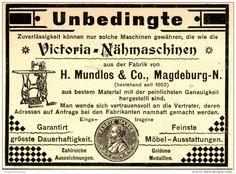 Original-Werbung/ Anzeige 1898 - VICTORIA NÄHMASCHINEN / MUNDLOS - MAGDEBURG…