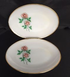 2 Fire King Anniversary Rose Platters Plate Gold Rim Ovenware Anchor Hocking #FireKing