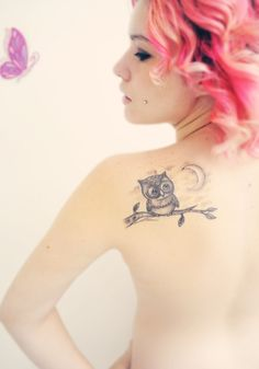 Owl tatoo-this is what I want someday with a monkey hanging from the bottom of the branch. Olivia's my owl and Austin's my monkey