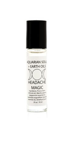 Aquarian Soul + Earth Oils Amethyst Headache Oil, $12; aquariansouldesigns.com This rollerball uses a soothing blend of peppermint and lavender to target tension, as well as mood-balancing quartz and amethyst, which is believed to be a natural tranquilizer. Keep it by your desk for those late afternoon head twinges.   - ELLE.com