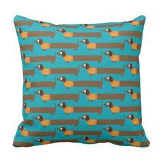 #Cute Long Dachshund Illustration Throw Pillow - #dachshund #puppy #dachshunds #dog #dogs #pet #pets #cute