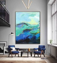 Handmade Extra Large Contemporary Painting, Huge Abstract Canvas Art, Original Artwork by Leo. Hand paint. Green, blue, yellow, pink.
