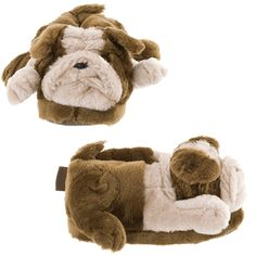 Bulldog Animal Slippers for Women and Men Treat your feet to a pair of funny Comfy Feet brand bulldog slippers! You can't help but smile when you look down at your feet in these funny bulldog slippers. These realistic-looking dog slippers are . Animal Print Slippers, Funny Slippers, Yellow Shoes, Third Birthday, Childrens Shoes, Womens Slippers, Little Girls, Kids, Animales