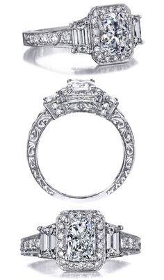 Radiant Cut Diamond Engagement Ring Trapezoids sides