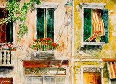 "sunlight n sea air geranium  balcony academia / venice  22"" x 30""  micheal zarowsky / watercolour on arches paper / available $2100.00"
