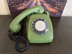 Vintage green phone 1977s, Old rotary phone, Circle dial rotary phone, Vintage landline phone, Old Dial Desk Phone, Retro phone, Post FeTAp Rustic Vintage Decor, Pay Attention To Me, Retro Phone, Vintage Phones, H Design, Home Phone, Beeswax Candles, Vintage Green, Rotary