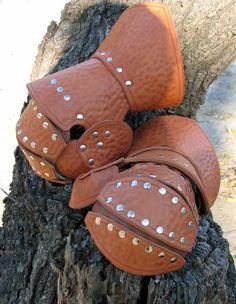 Leather Clamshell Gauntlets by LederherrDesignGroup on Etsy