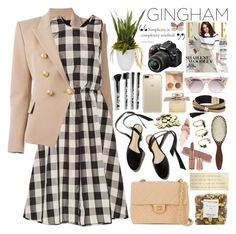 """""""Check Republic: Gingham Dress"""" by martinabb ❤ liked on Polyvore featuring Balmain, Rochas, Chanel, Nearly Natural, Nikon, Torrid, Speck, Chloé, Jimmy Choo and Simons"""