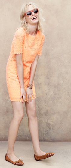 #Madewell Bobbin Shift Dress. (tangerine cream)