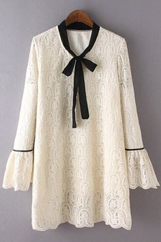 Bowknot Embroidered Stand Neck Flare Sleeve Lace Dress