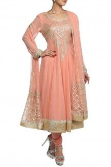 Georgette Peach Salwar By Varun And Nidhika Rs 31750