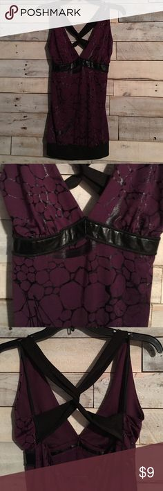 PRICE DROPPlum dressy tank Plum and black tank with faux leather detail on the front and criss-cross straps. Excellent condition Wet Seal Tops Tank Tops