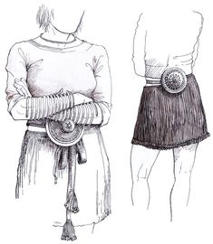 Kvindesmykker, bælteskive og bæltedåse – Frauenschmuck, Gürtel Scheibe und Gürtel Dose – Woman equipment, belt disk and belt box