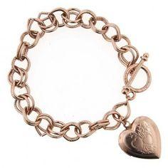 Rose Gold Tiffany Style Vintage Inspired Heart Toggle Charm Bracelet   69211   1928 bracelets