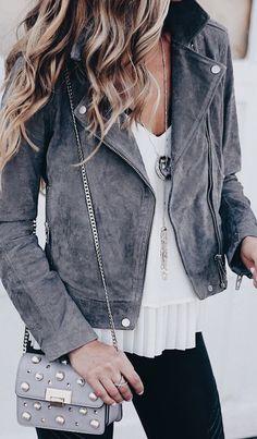 Grey suede moto.