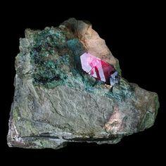 3500,00 € Exceptionnel cristal de cuprite sur chrysocolle de près de 3 cm. Très belle brillance et cristal de qualité gemme. Ancienne collection H. Daré. Dimensions : 10,3 x 9,2 x 4,5 cm environ Provenance : Mashamba West Mine, Kolwezi District, Katanga Copper Crescent, Katanga, République Démocratique du Congo (Zaïre)