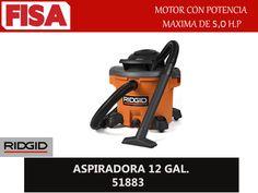 ASPIRADORA 12 GAL 51883. Motor con potencia maxima de 5.0HP- FERRETERIA INDUSTRIAL -FISA S.A.S Carrera 25 # 17 - 64 Teléfono: 201 05 55 www.fisa.com.co/ Twitter:@FISA_Colombia Facebook: Ferreteria Industrial FISA Colombia