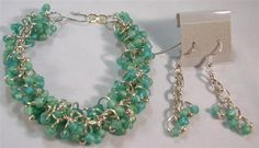 Frosted Aqua Bracelet and Earrings by originalsbydeb on Etsy, $20.00