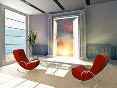 $107 Room-with-Opened-Door-Wall-Mural-Photo-Wallpaper-GIANT-DECOR-Paper-Poster