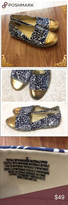 Lilly Pulitzer Espadrilles: blue/gold/white slipon 📦Same day shipping (as long as P.O. is open for business). ❤ Measurements are approximate. Descriptions are accurate to the best of my knowledge.  These gorgeous flats are comfy & chic! The rich blue contrasted with white & accented golden toe is a perfect combination. I typically wear an 8.5 so these are just a bit big for me. Last photo shows exact measurement. Compare to your best fitting flats. Excellent shape. Reposh: selling for less…