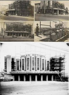 1925 Walter Burley Griffin designed Palais Pictures during construction. It burnt down soon after construction and was replaced in 1927 by the current Palais Theatre building. St Kilda, Construction, Victoria Australia, Storytelling, Find Image, Melbourne, Theatre, Buildings, King