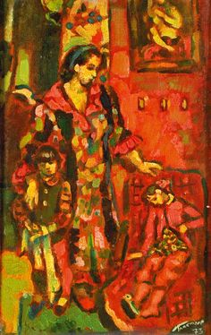 "Gennady Glakhteev ""In Red Room"" 1973 46х28  Геннадий Глахтеев ""В красной комнате"" 1973 46х28"