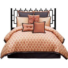 angelo: HOME Westgate 8-Piece King Bedding Set ($360) ❤ liked on Polyvore featuring home, bed & bath, bedding, beds, bedroom, furniture, bed and bath, king bedding, queen bed set and queen pillow shams