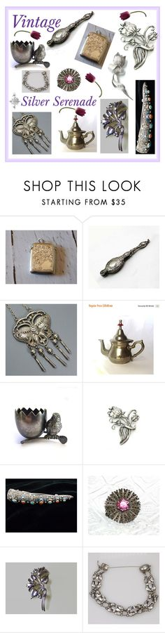 """Vintage Silver Serenade"" by muskrosevintage ❤ liked on Polyvore featuring Krementz, Barbour, Georg Jensen and vintage"