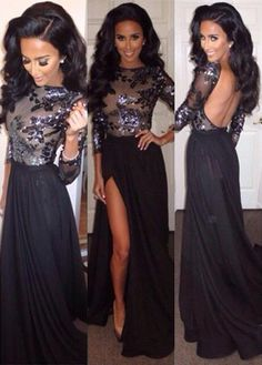 Sexy Black Long Sleeve Appliques Prom Dress from www.27dress.com