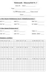 Klassenarbeit zu Zahlenraum bis 1000 | jasmin | Pinterest | Math ...