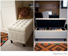 DIY Project: Storage Bench File Cabinet » Stephanie Dee Photography - Ross always seems to have storage ottomans pretty cheap - I just have to make sure the interior measurements will fit the file folder stand.