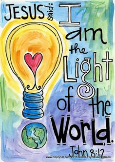 John 8:12 Jesus Light of the World Illustrated Watercolor Prints
