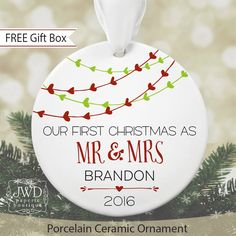 First Christmas as Mr & Mrs Ornament Personalized Christmas Ornament Bridal Shower Gift Newlywed Gift for Wedding Heart Garland #OR1601 by JWDBoutique on Etsy https://www.etsy.com/listing/469798264/first-christmas-as-mr-mrs-ornament