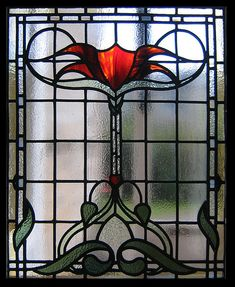 "New stained and leaded glass window for a Bearsden home in Glasgow, Scotland. A hybrid of ""Glasgow Style"" and Edwardian windows."