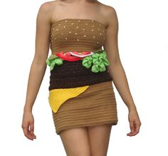 Hamburger Dress. This is terrible but amazing at the same time. I kind of want to be a hamburger for Halloween now...