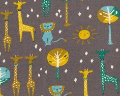 Bio+Interlock+Organic+Cotton+HAPPY+TOWN,+Giraffen+und+Löwen,+schlammbraun-goldbraun