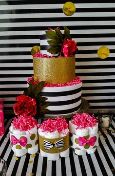 Kate Spade inspired Diaper Cake and diaper cake mini's
